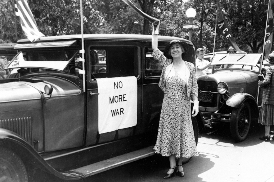 Former U.S. congresswoman Jeannette Rankin (R-Montana) prepares to leave Washington, June 2, 1932, for a speaking tour calling for a peace plank in the Republican and Democratic party platforms.  As the first woman elected to congress, she did not vote for war in 1917.  (AP Photo)